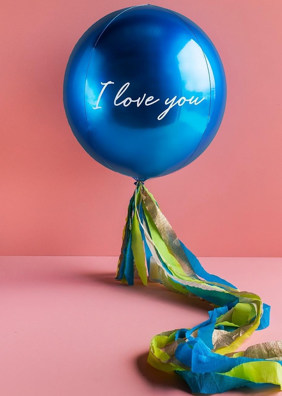 "Imagen para Blue Spherical Balloon ""I Love You"" - 1"