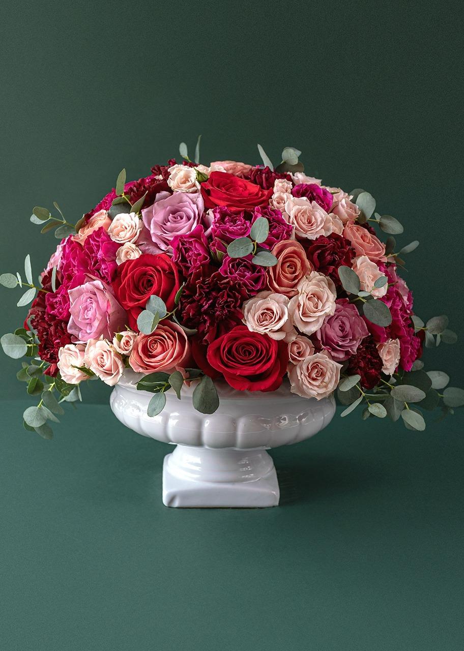 Imagen para Rosas coloridas en base de cerámica - 1