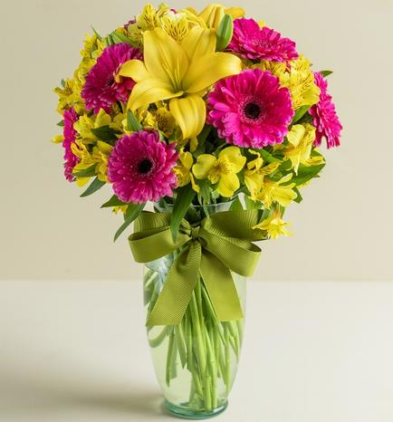 Gerbera Daisies and Lilies in Glass Vase