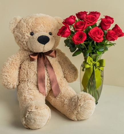 Bear Stuffed Animal with Red Roses