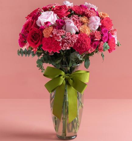 12 Roses and Carnations in Vase