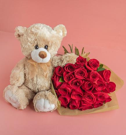 Teddy Bear 30 cm and Flower Bouquet