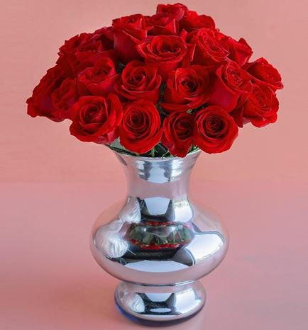 36 Red Roses with Mirror vase