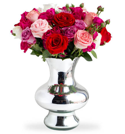 15 Roses and Mini Roses in Vase