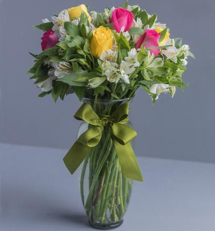 Arrangement with Roses and Alstroemerias