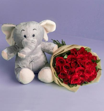 Elephant stuffed animal with 24 roses